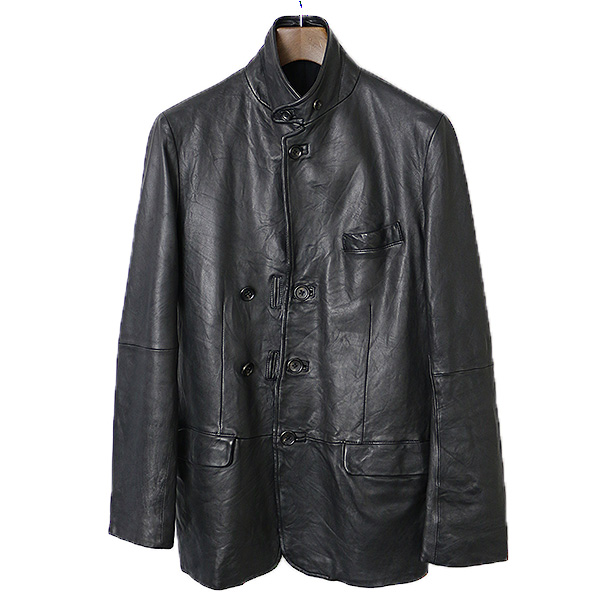 【中古】Yohji Yamamoto POUR HOMME ヨウジヤマモトプールオム 10AW ラムレザー5Bテーラードジャケット メンズ ブラック 2