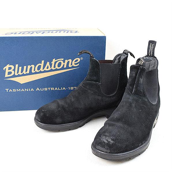 【中古】Blundstone ブランドストーン 1455 スウェードサイドゴアブーツ メンズ ブラック 7(26cm程度)