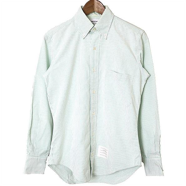 【中古】THOM BROWNE トムブラウン ストライプボタンダウンシャツ メンズ グリーン 0