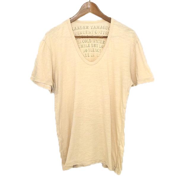 送料込 中古 ALEXANDER YAMAGUCHI アレキサンダーヤマグチ 製品染めVネックTシャツ アイボリー メンズ S 限定特価