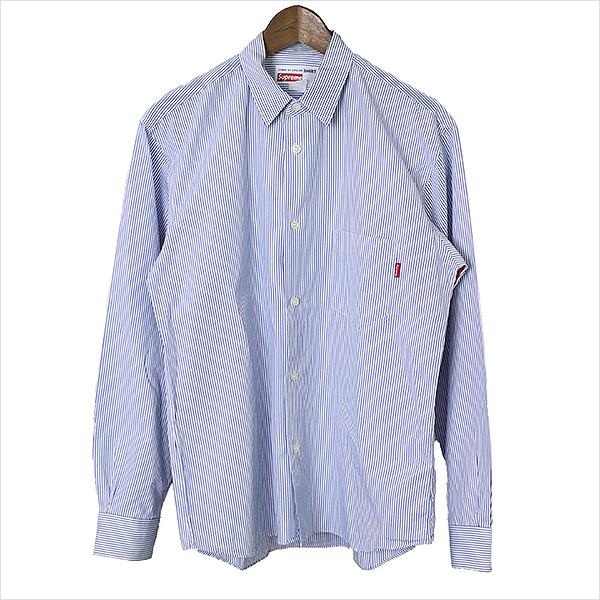 【中古】Supreme シュプリーム ×Dover Street Market Ginza COMME des GARCONS SHIRT 12SSストライプシャツ メンズ ブルー Sサイズ程度