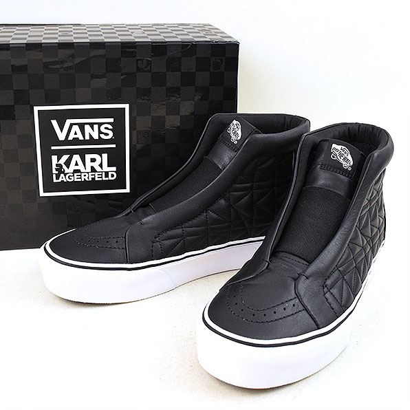 【中古】VANS ヴァンズ x KARL LAGERFELD SK8-Hi Leather Sneaker スニーカー メンズ ブラック 27cm