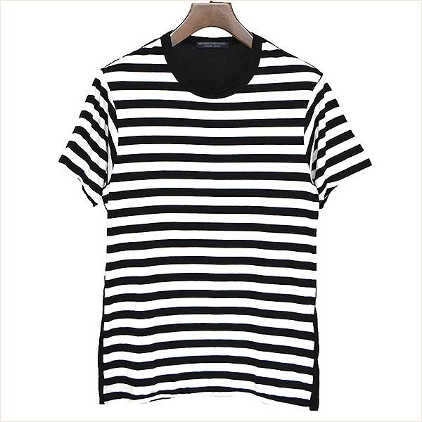 【中古】REGULATION Yohji Yamamoto レギュレーションヨウジヤマモト 17SS 右スリットボーダーTシャツ メンズ ブラック×ホワイト 1