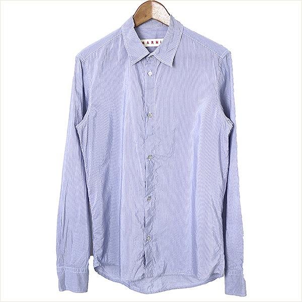 【中古】MARNI マルニ 12AW コットンレーヨンストライプシャツ メンズ サックス 46