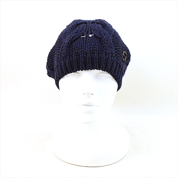 ef51848a5ad GUCCI Gucci interlocking grip cable knitting balloon knit cap hat men navy