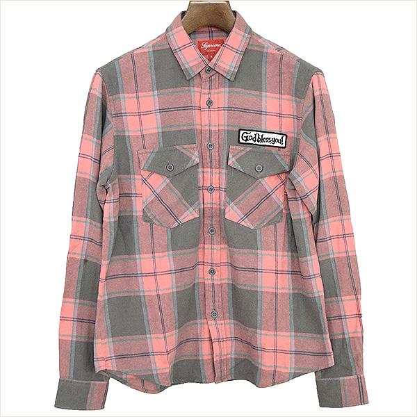【中古】Supreme シュプリーム 17AW God Bless Plaid Flannel Shirt チェック柄フランネルシャツ メンズ ピンク S