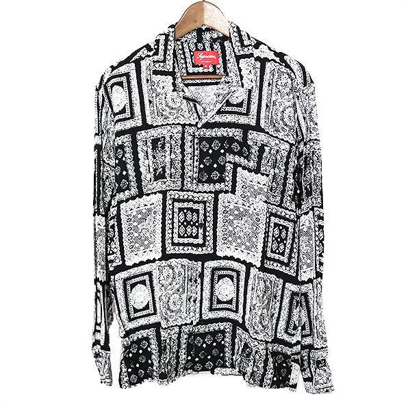 【中古】Supreme シュプリーム 17SS Laces Rayon Shirt レーヨンシャツ メンズ ブラック M