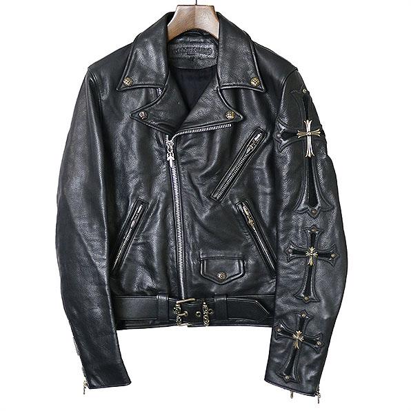 9f8f71486a4c CHROME HEARTS chrome Hertz JJ DEAN custom double riders jacket men black S