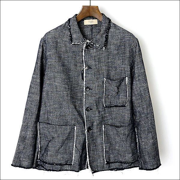 【中古】MAISON FLANEUR メゾンフラネール 17SS Fringe Work Jacket ワークジャケット メンズ グレー 48