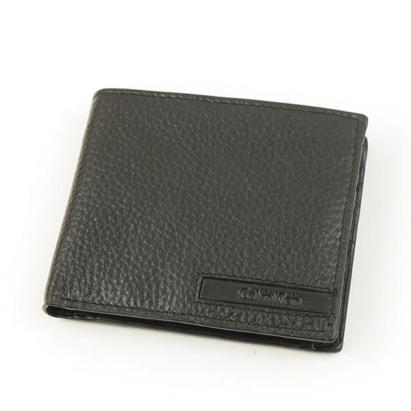 【中古】Calvin Klein カルバンクライン グレインレザーロゴエンボス二つ折りウォレット メンズ ブラック