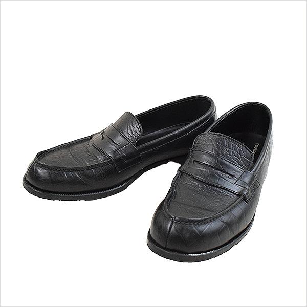 【中古】junhashimoto ジュンハシモト FOOTSTOCK ORIGINALS コインローファー メンズ ブラック 9E(27cm程度)