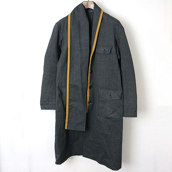【中古】Yohji Yamamoto POUR HOMME ヨウジヤマモトプールオム 17AW LOOK4 トリミングスカーフカラー杢デニムコート メンズ チャコールグレー 2