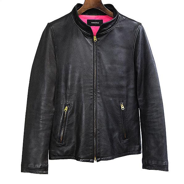 【中古】FIXED STAR フィクストスター シープスキンシングルライダースジャケット メンズ ブラック 36