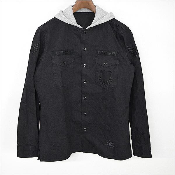 【中古】uniform experiment ユニフォームエクスペリメント 16AW フード付きミリタリーシャツ メンズ ブラック 3