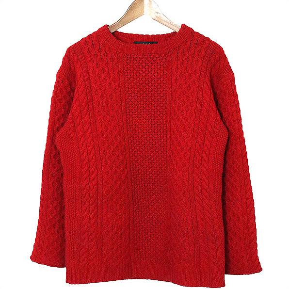【中古】UNUSED アンユーズド BEAUTY&YOUTH別注 15AW fisherman sweater フィッシャーマンニット メンズ レッド 3