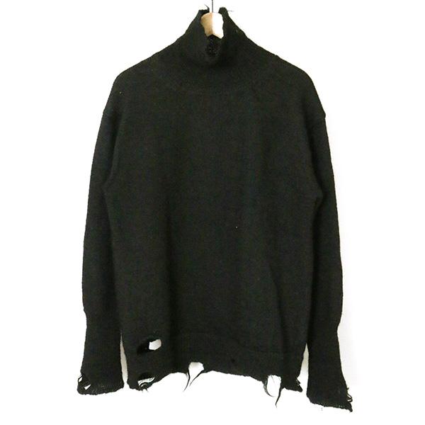 【中古】DIGAWEL ディガウェル 17AW TURTLE NECK SWEATER(DAMAGE) タートルネックセーター メンズ ブラック 2