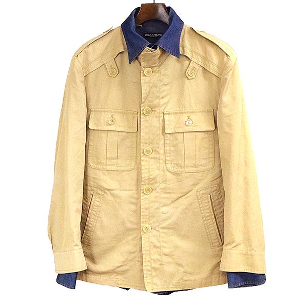【中古】DOLCE&GABBANA ドルチェ&ガッバーナ レイヤードシャツジャケット メンズ ベージュ 50