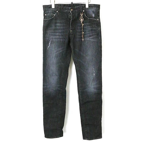 【中古】DSQUARED2 ディースクエアード 14AW DEAN JEAN/チェーンストレッチデニムパンツ メンズ ブラック 50