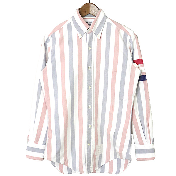 【中古】THOM BROWNE トムブラウン トリコロールラインストライプボタンダウンシャツ メンズ ミックス 3