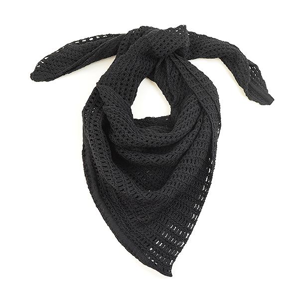 【中古】Dior HOMME ディオールオム 09AW トライアングル鉤編みニットストール メンズ ブラック