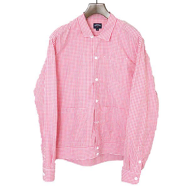 【中古】NOAH ノア オープンカラーギンガムチェックシャツ メンズ レッド×ホワイト XL