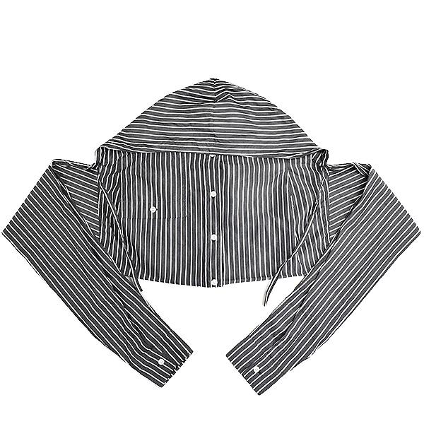 【中古】BALENCIAGA バレンシアガ 18SS SHIRTING HOOD コットンフードシャツストール メンズ ブラック×ホワイト S