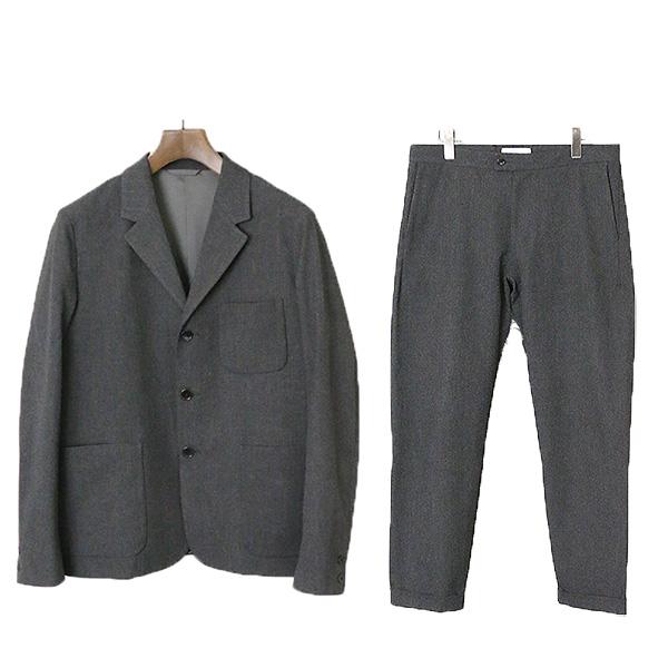 【中古】YAECA ヤエカ ストレッチセットアップ スーツ メンズ グレー L
