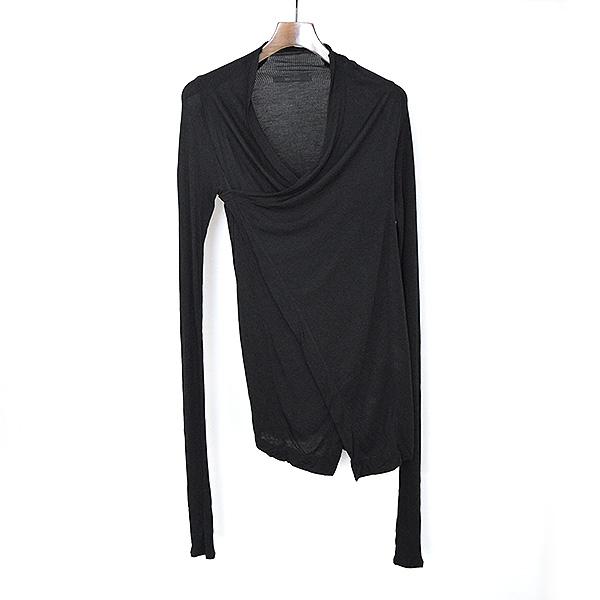 【中古】MA JULIUS エムエーユリウス 12AW レーヨンリブニットデザインセーター メンズ ブラック F