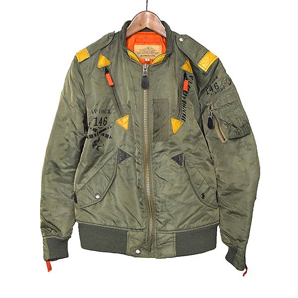 【中古】AVIREX アヴィレックス L-2 ナイロンフライトジャケット メンズ カーキ M