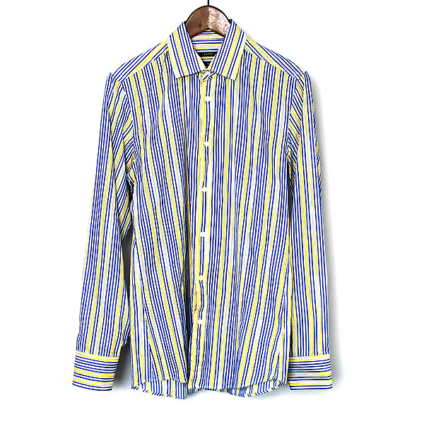 【中古】GUCCI グッチ 09SS ロゴマルチストライプコットンシャツ メンズ ミックスカラー 38
