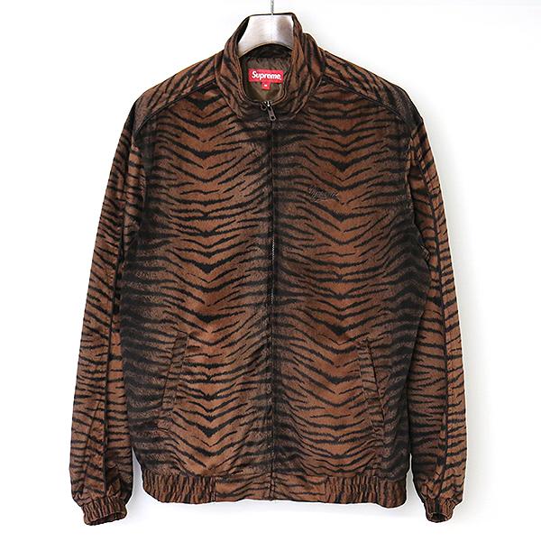【中古】Supreme シュプリーム 18SS Tiger Stripe Track Jacket タイガーベロアジャケット メンズ ブラウン M