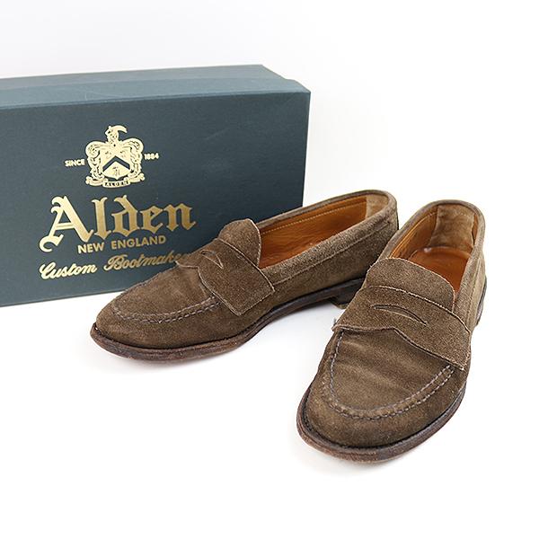 【中古】Alden オールデン 6245F スウェードレザーローファー メンズ ブラウン 8(26cm程度)【送料無料】