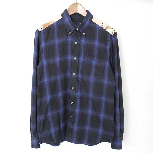 【中古】SOPHNET. ソフネット 16AW OMBRE CHECK CAMOUFLAGE PANEL B.D SHIRT オンブイチェックシャツ メンズ ブルー M