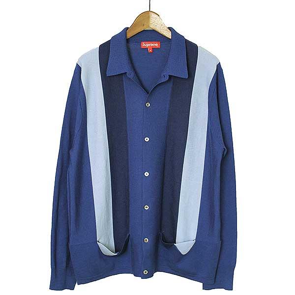 【中古】Supreme シュプリーム 17SS Arrows Striped Polo Sweater ストライプニットポロカーディガン メンズ ブルー XL