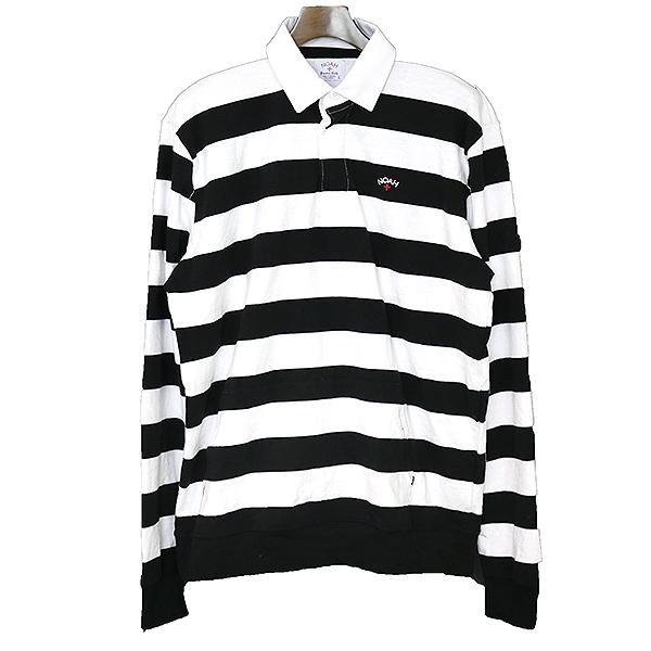 【中古】NOAH ノア 18SS ボーダーラガーシャツ メンズ ブラック×ホワイト L