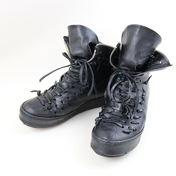 【中古】Artselab アートセラブ バックジップデザインレザーブーツ メンズ ブラック サイズ表記無し(27.5cm程度)【送料無料】