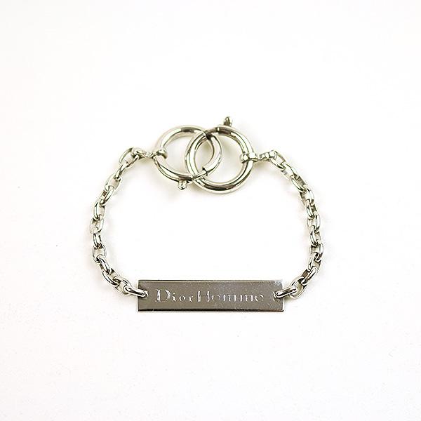 大人気新品 【】Dior HOMME ディオールオム ロゴプレートチェーンブレスレット メンズ シルバー 全長21cm, 天使の指輪 4860d2c1