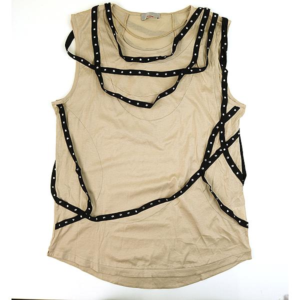 【中古】Dior HOMME ディオールオム 04SS ボンテージノースリーブカットソー メンズ ベージュ XS【送料無料】