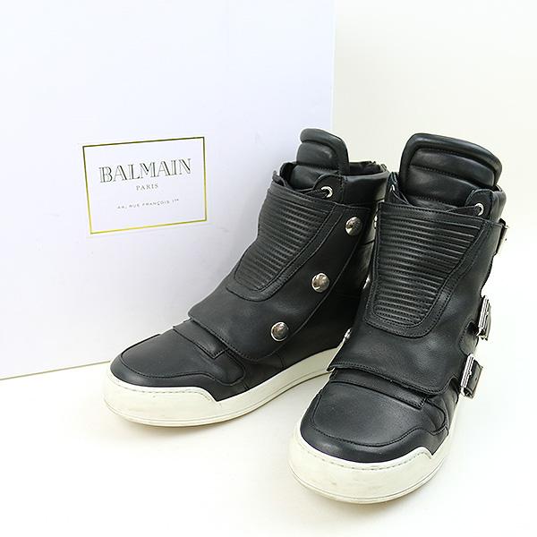 83279e1f5f BALMAIN HOMME バルマンオム 16AW back zip belt strap design higher frequency  elimination leather sneakers men black ...