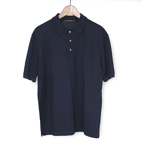 e2d881a38841 LOUIS VUITTON Louis Vuitton 14AW LV embroidery fawn polo shirt men navy XL