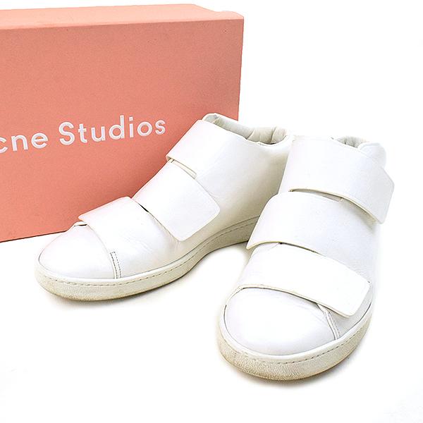 【中古】Acne Studios アクネストゥディオズ Triple Mid ベルクロスニーカー メンズ ホワイト 43(26.5cm程度)