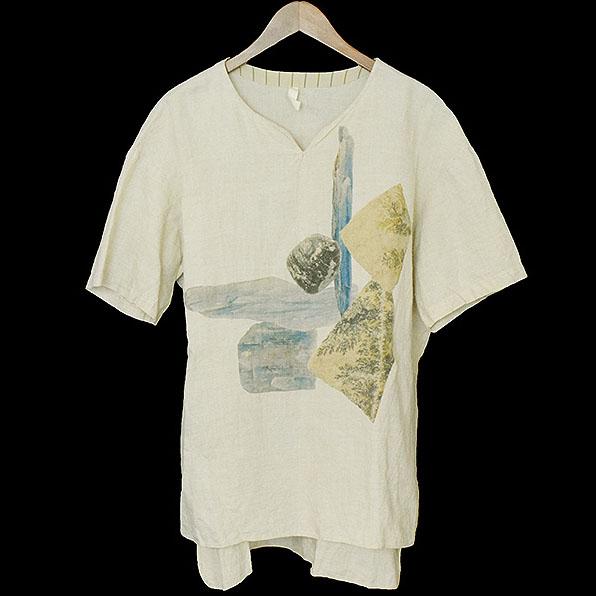【中古】ohta オオタ 15SS プリントリネンプルオーバーTシャツ メンズ ベージュ M