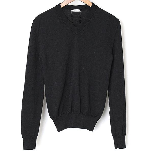 【中古】Dior HOMME ディオールオム 08AW バック蛇腹ラインVネックウールニットセーター メンズ ブラック XS