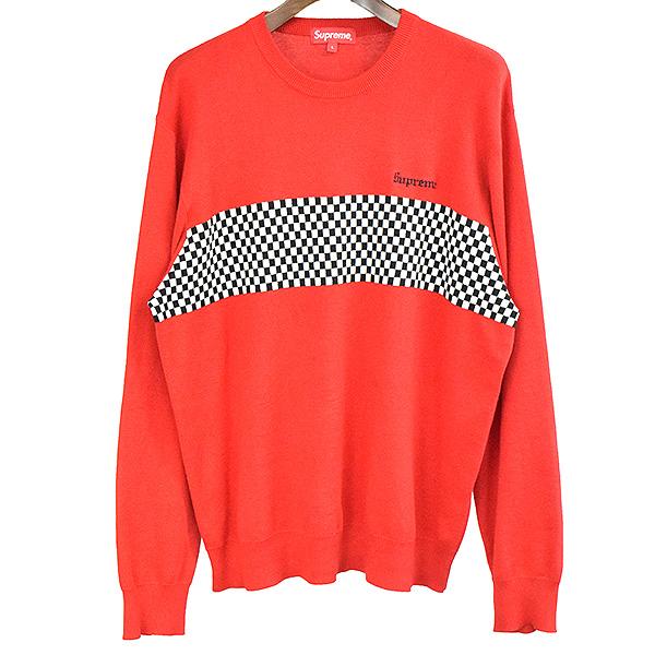 【中古】Supreme シュプリーム 18SS Checkered Panel Crewneck Sweater ニットセーター メンズ レッド L