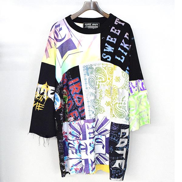 【中古】COTE MER コートメール 再構築パッチワークビッグTシャツ メンズ ミックスカラー F