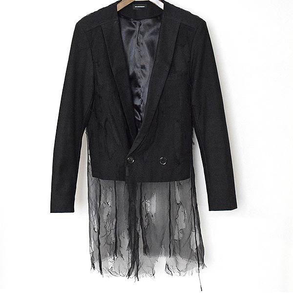 【中古】Lina Osterman リナオスターマン デストロイシルクレイヤードジャケット メンズ ブラック S