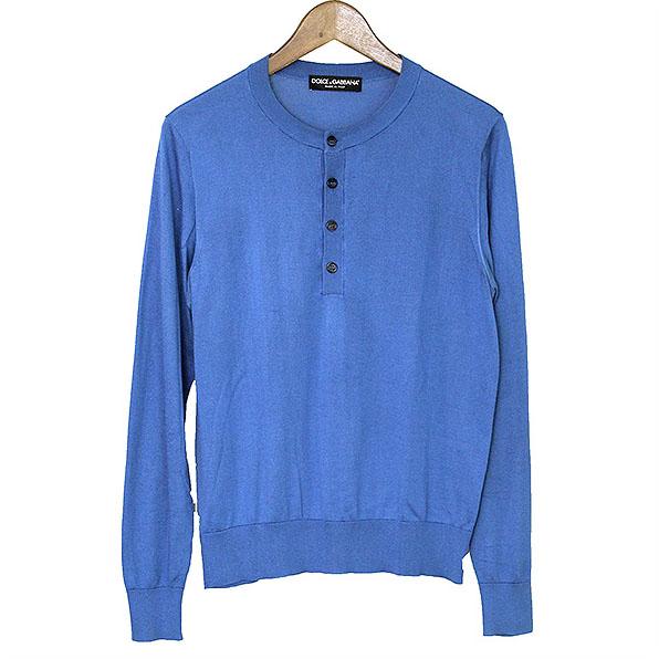 【中古】DOLCE&GABBANA ドルチェ&ガッバーナ ヘンリーネックシルクニットセーター メンズ ブルー S