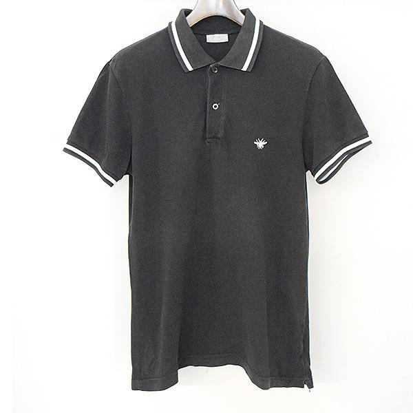 【中古】Dior HOMME ディオールオム BEE刺繍鹿の子ポロシャツ メンズ ブラック 50