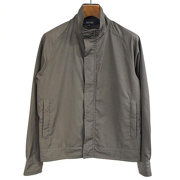 【中古】GUCCI グッチ スタンドカラーナイロンジップアップジャケット メンズ カーキ 46