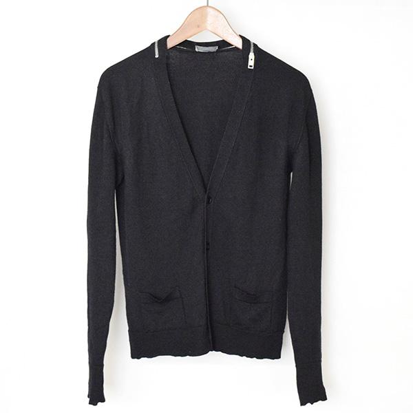 【中古】Dior HOMME ディオールオム 04AW ジップデザインカーディガン メンズ ブラック S